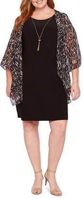Tiana B 3/4 Sleeve Kimono Jacket Dress with Necklace - Plus