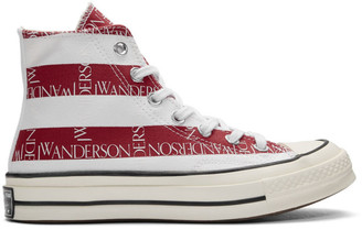 J.W.Anderson Indigo and Red Converse Edition Grid Logo Chuck 70 Hi Archive Print Sneakers