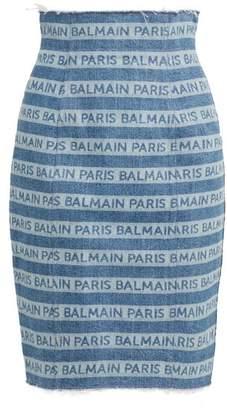 Balmain Logo Zip Front Denim Skirt - Womens - Blue