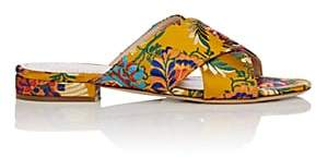 Barneys New York Women's Floral Satin Brocade Slide Sandals - Yellow