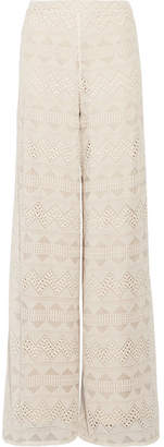 Alice + Olivia Athena Embroidered Silk-voile Wide-leg Pants - Ecru