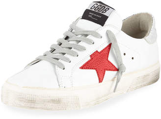Golden Goose May Leather Red-Star Sneakers