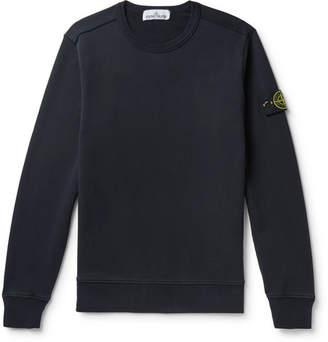 Stone Island Logo-Appliqued Fleece-Back Cotton-Jersey Sweatshirt