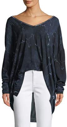 Halston Long-Sleeve V-Neck Printed Sweater