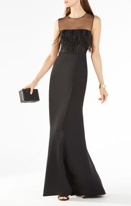Junniva Ostrich Feather Applique Gown $398 thestylecure.com