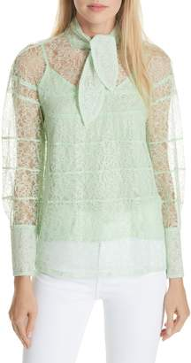 Sandro Tie Neck Lace Blouse