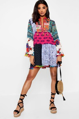 boohoo Patchwork Print Tassel Detail Smock Dress