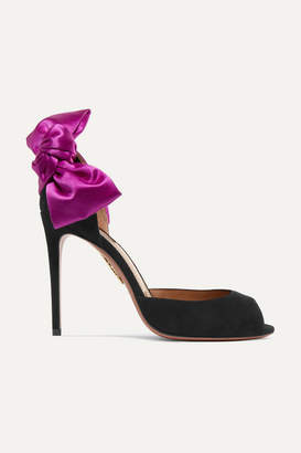 Aquazzura Versailles Bow-embellished Suede Sandals - Black