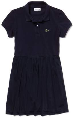 Lacoste Girls' Pleated Petit Pique Polo Dress