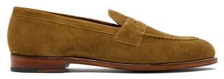 Grenson Lloyd Suede Penny Loafers - Mens - Brown