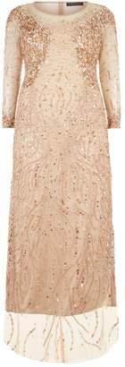 Marina Rinaldi Embellished Sheer Sleeve Gown