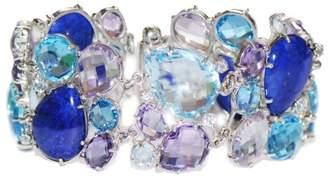 Lapis Anzie Sterling Silver Lapis, Blue Topaz, Amethyst Bracelet