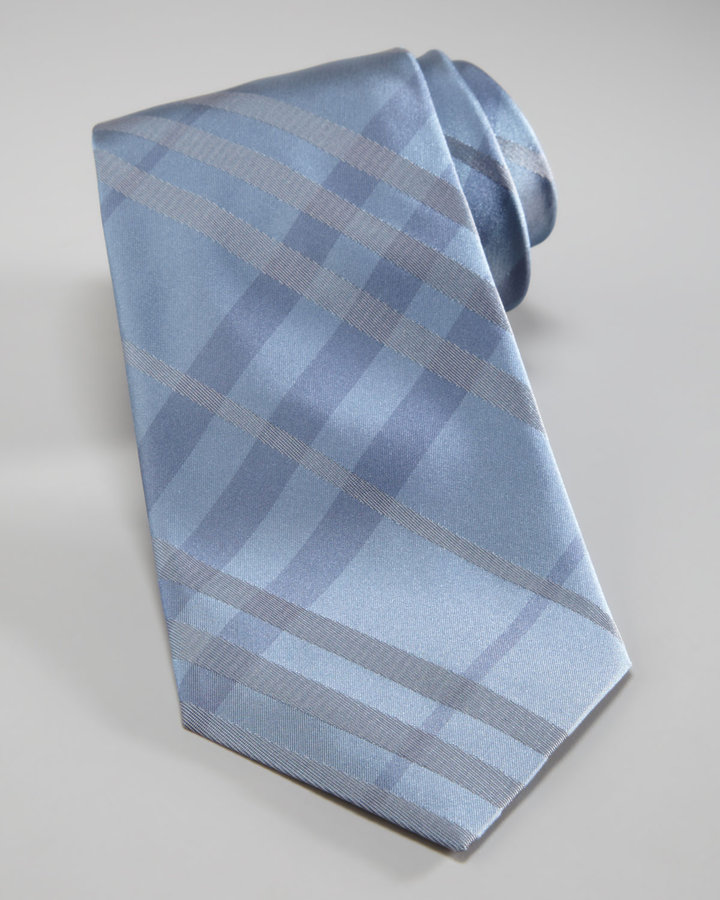 Burberry Tonal Checked Tie, Light Blue