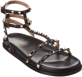 Valentino Rockstud Gladiator Leather Sandal