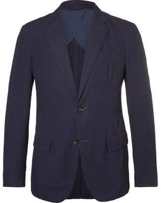 Ermenegildo Zegna Navy Cotton-Seersucker Blazer