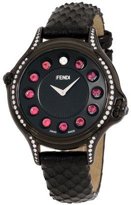 Fendi Crazy Carats Black Dial Leather Strap Ladies Watch F110031011C0T05
