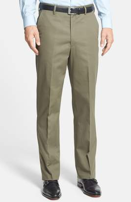 Berle Flat Front Wrinkle Resistant Cotton Trousers