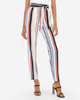 Express High Waisted Striped Sash Tie Pull-On Ankle Pant