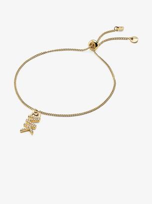 Michael Kors Precious Metal-Plated Sterling Silver Logo Starter Slider Bracelet