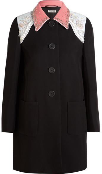 Miu MiuMiu Miu - Embellished Cady Coat - Black