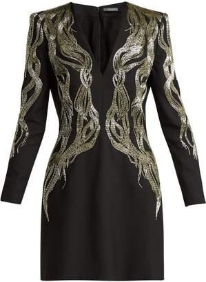 Alexander McQueen Bead-embroidered wool-blend mini dress