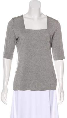 Akris Punto Square Neck Three-Quarter Sleeve Top