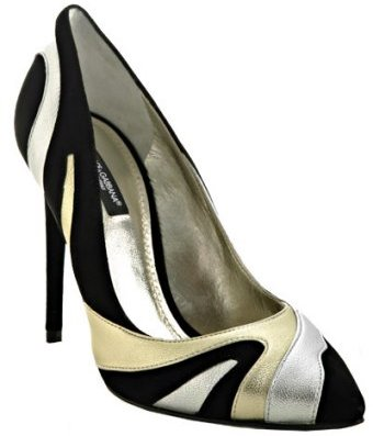 Dolce & Gabbana black suede metallic leather detail pumps