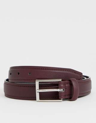 Asos Design DESIGN faux leather slim belt in burgundy with edge stitch