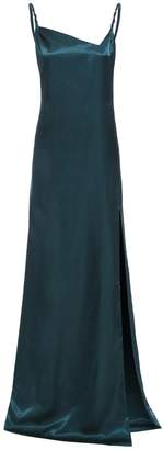 Sarvin - Rosie Emerald Twisted Straps Maxi Slip Dress With Side Slit