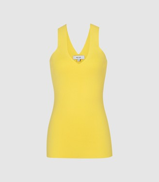 Reiss Sophia - V-neck Bodycon Top in Yellow