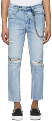 Ksubi Blue Chitch Chop Punk Pin Jeans