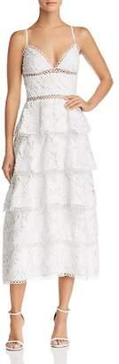 Lee SAU Camelia Tiered Floral-Lace Dress