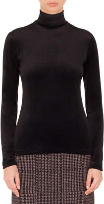 Akris Punto Turtleneck Long-Sleeve Back-Zip Knit Sweater