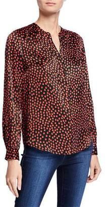 L'Agence Bardot Band-Collar Silk Dot-Print Blouse