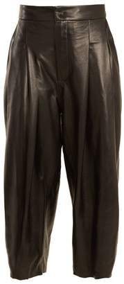 Natasha Zinko - Pleat Detail Wide Leg Leather Culottes - Womens - Black