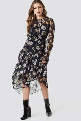 Na Kd Boho Asymmetric Chiffon Frill Dress Black/Red Flower