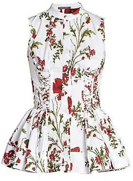 Alexander McQueen Women's Floral Print Peplum Waist Sleeveless Shirt