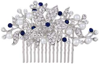 Ever Faith Silver-Tone Crystal Simulated Pearl Orchid Flower Bridal Hair Comb N00419-1