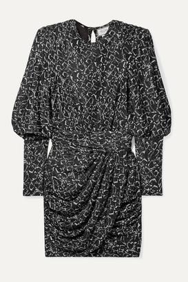 Redemption Draped Metallic Jacquard Mini Dress - Silver