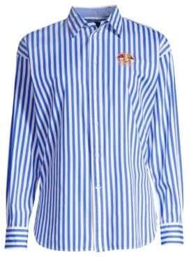 Polo Ralph Lauren Ellen Embroidered Striped Long-Sleeve Button-Down Shirt
