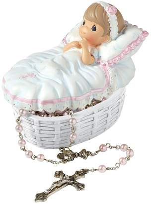 """Precious Moments 153406 Baptism Gift, """"Baptized In His Name"""" Resin Box with Rosary for Girl"""
