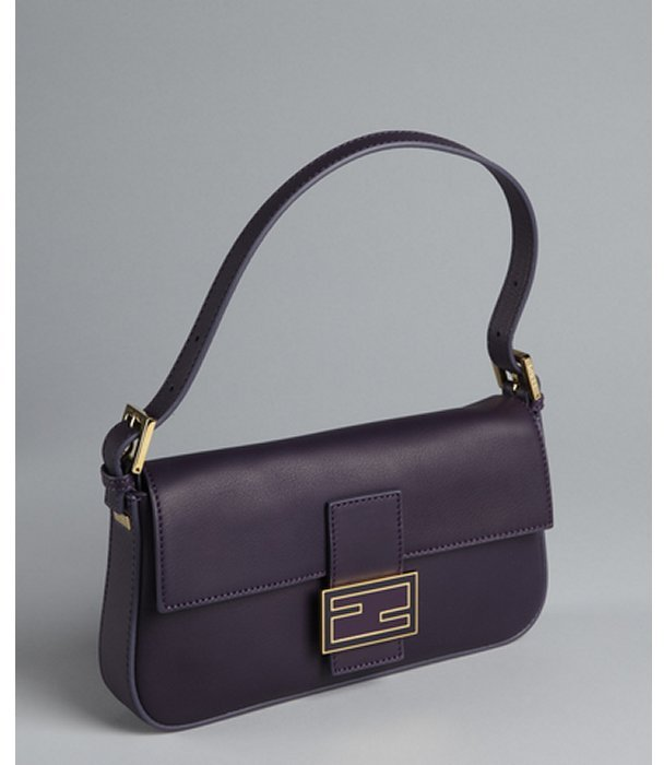 Fendi plum leather small baguette shoulder bag
