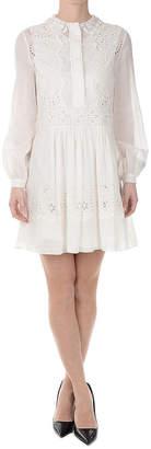 Saint Laurent (サン ローラン) - SAINT LAURENT アイレットレース切替 長袖ドレス ホワイト 36