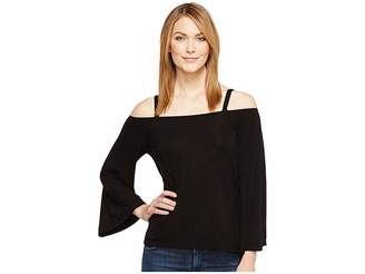 Michael Stars Jersey Lycra Cropped Off Shoulder Top Women's Clothing