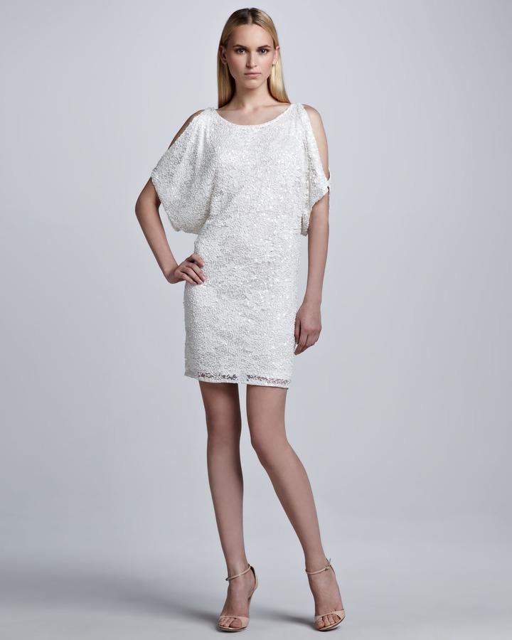 Aidan Mattox Sequined Cold Shoulder Shift Dress, White