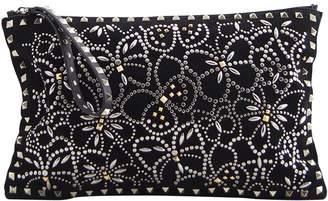 Valentino Rockstud Black Suede Clutch Bag