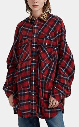 R 13 Women's Leopard-Collar Plaid Cotton Flannel Blouse - Red