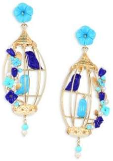 Lapis Of Rare Origin Lovebirds Lapis, Turquoise, Horn& Freshwater Pearl Drop Earrings