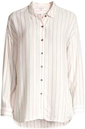 Splendid Dume Striped Button-Front Blouse