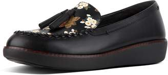 FitFlop Petrina Dark Floral Moccasin Leather Loafers